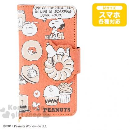 〔小禮堂〕史努比 皮質掀蓋式手機殼《M.橘.甜點》多機種適用.三色漫畫系列