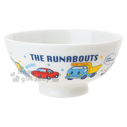 〔小禮堂〕RB工程車 日製陶瓷飯碗《白.朋友.點點》兒童餐具系列