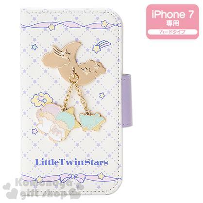 〔小禮堂〕雙子星 iPhone7 皮質掀蓋式手機殼《米.菱格紋.緞帶》金屬綴飾
