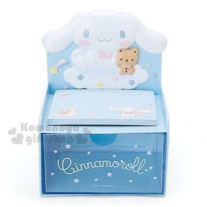 〔小禮堂〕大耳狗 造型單抽收納盒《淡藍.坐在雲上.星星》附60張便條紙