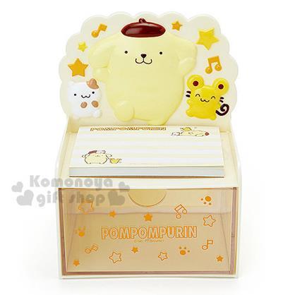 〔小禮堂〕布丁狗 造型單抽收納盒《黃.單腳站.倉鼠》附60張便條紙