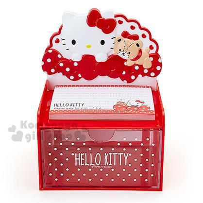 〔小禮堂〕Hello Kitty 造型單抽收納盒《紅.大臉.小熊.蝴蝶結》附60張便條紙