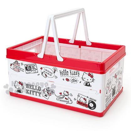 〔小禮堂〕Hello Kitty 折疊收納提籃《紅白.錄音帶.鞋子.袋子》