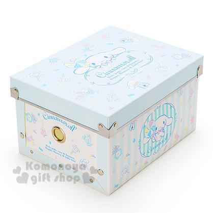 〔小禮堂〕大耳狗 塑膠折疊收納箱《S.藍.棒棒糖》附蓋.可放A5尺寸