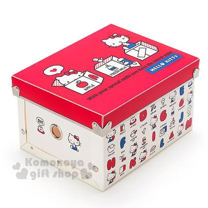 〔小禮堂〕Hello Kitty 塑膠折疊收納箱《S.紅白.字母》附蓋.可放A5尺寸