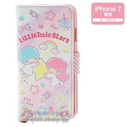 〔小禮堂〕雙子星 iPhone7 皮革掀蓋式裝飾殼《粉.星星.彩虹.糖果》