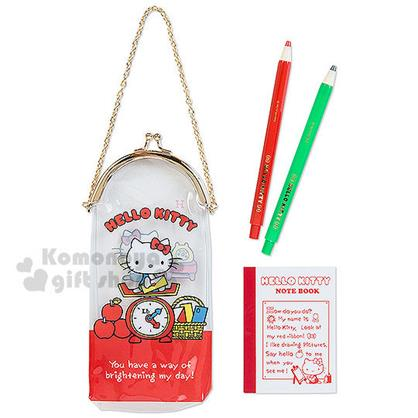 〔小禮堂〕Hello Kitty 口金式提袋文具組《紅.透明.秤重機.拿信封》原子筆+筆記本