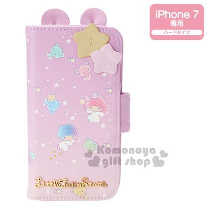 〔小禮堂〕雙子星 iPhone7 皮革掀蓋式裝飾殼《紫.星星.小熊.立體耳朵》
