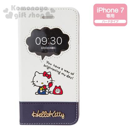〔小禮堂〕Hello Kitty iPhone7  皮質掀蓋式裝飾殼《藍白.電話.花》