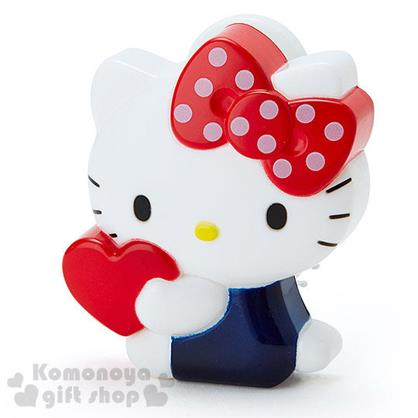 〔小禮堂〕Hello Kitty 造型折疊梳《白.側坐.抱愛心》附鏡子.方便攜帶