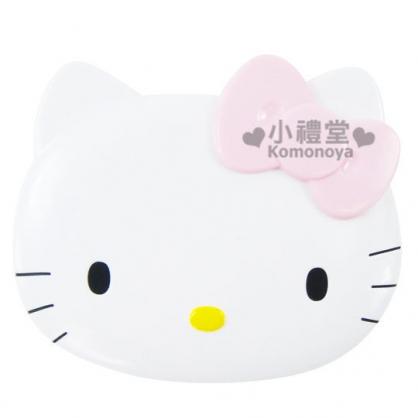 〔小禮堂〕Hello Kitty 臉形鏡梳組《白KT臉》超人氣經典商品