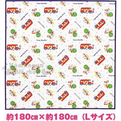 〔小禮堂〕Sanrio大集合 野餐墊《L.白.藍邊.紅校車.點點.180X180cm》春夏野餐系列