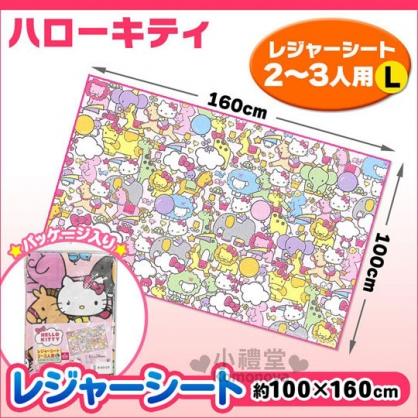 〔小禮堂〕Hello Kitty 野餐墊《L.粉.動物園滿版》2~3人用尺寸設計
