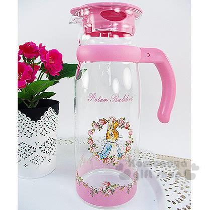 〔小禮堂〕彼得兔 耐熱玻璃壺《透明.粉.玫瑰花圈.1215ml》