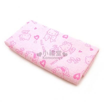 〔小禮堂〕Hello Kitty  超細纖維擦髮巾《粉紅.蝴蝶結&愛心》超強5倍吸水力