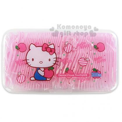 〔小禮堂〕Hello Kitty 家用牙線棒《粉.側坐.多蘋果.盒裝》200支入