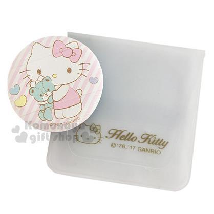 〔小禮堂〕Hello Kitty 手套型氣墊粉撲《粉斜紋.小熊.擁抱》BB.CC霜.氣墊粉餅專用