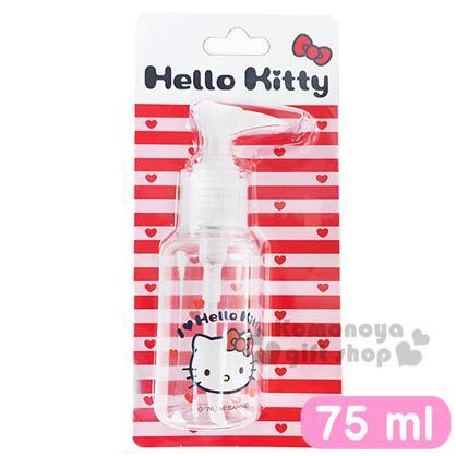 〔小禮堂〕Hello Kitty 按壓式空瓶《透明.大臉.愛心.75ml》可自由補裝內容物