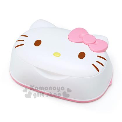 〔小禮堂〕Hello Kitty 日製造型卸妝濕紙巾盒《白.蝴蝶結.大臉型》內附31抽卸妝濕紙巾