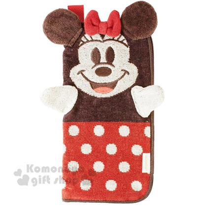 〔小禮堂〕迪士尼 米妮 毛巾布造型收納包《黑.長型.可當布偶》