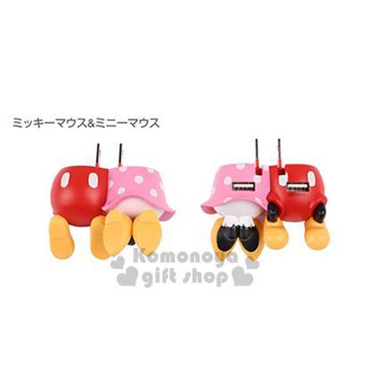 〔小禮堂〕Hamee 迪士尼 米奇米妮 造型雙插式USB 充電插座《紅/粉.高跟鞋.屁股》可收納式插頭