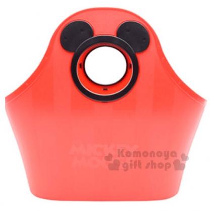 〔小禮堂〕迪士尼 米奇 軟式通風提籃《紅.黑色大臉簍空》底部挖洞設計