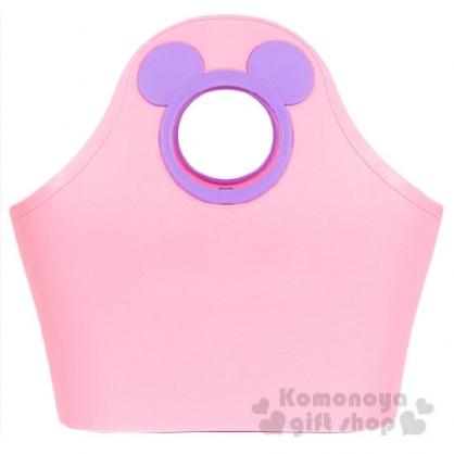 〔小禮堂〕迪士尼 米奇 軟式通風提籃《粉.紫色大臉簍空》底部挖洞設計