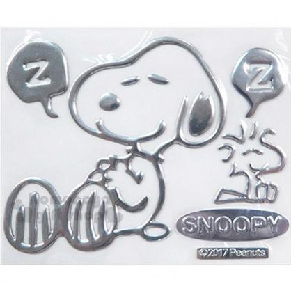 〔小禮堂〕史努比 車用造型裝飾貼《銀.睡覺.小黃鳥》汽車適用.輕鬆裝飾愛車