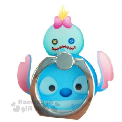 〔小禮堂〕迪士尼 Tsum Tsum 造型壓克力手機指環架《史迪奇.堆疊》可360度旋轉