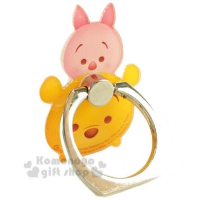 〔小禮堂〕迪士尼 Tsum Tsum 造型壓克力手機指環架《小熊維尼.堆疊》可360度旋轉
