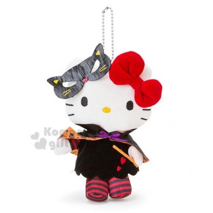 〔小禮堂〕Hello Kitty 絨毛娃娃吊飾《黑斗篷.條紋衣.橘魔杖》2018萬聖節系列