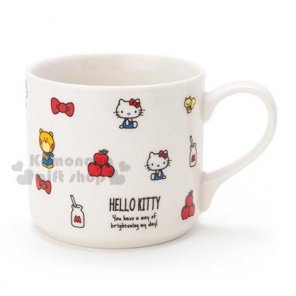 〔小禮堂〕Hello Kitty 陶瓷馬克杯《白.蘋果.牛奶瓶.滿版》精美盒裝