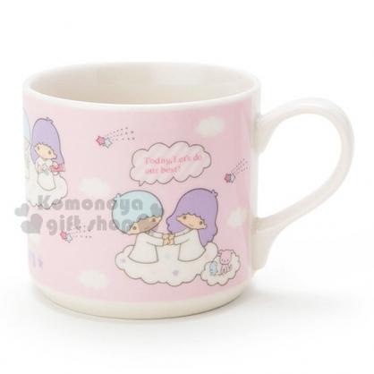 〔小禮堂〕雙子星 陶瓷馬克杯《粉.雲朵.流星.牽手》精美盒裝