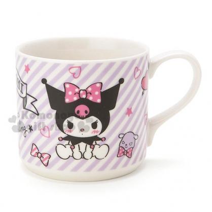〔小禮堂〕酷洛米 陶瓷馬克杯《紫.斜紋.愛心》精美盒裝