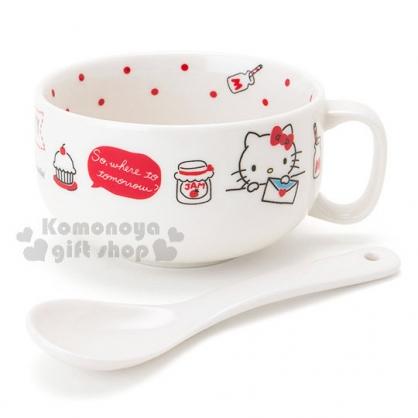 〔小禮堂〕Hello Kitty 陶瓷湯杯附匙《白.牛奶瓶.信封》精美盒裝
