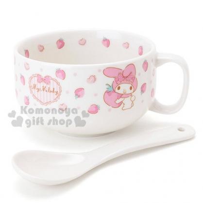 〔小禮堂〕美樂蒂 陶瓷湯杯附匙《白.草莓.點點》精美盒裝