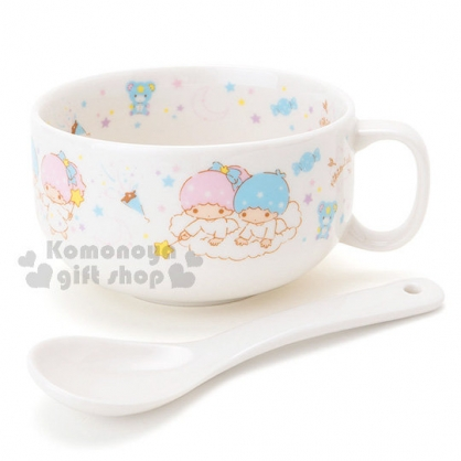 〔小禮堂〕雙子星 陶瓷湯杯附匙《白.星星.糖果》精美盒裝