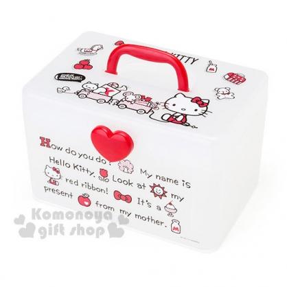 〔小禮堂〕Hello Kitty 塑膠收納提箱《紅白.透明.文字.玩具車》可拆式夾層設計