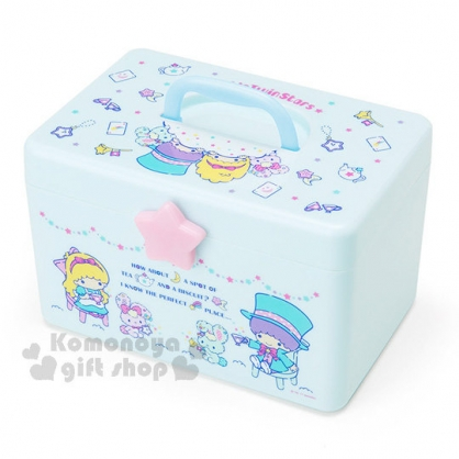 〔小禮堂〕雙子星 塑膠收納提箱《淺藍.透明.高帽.兔子》可拆式夾層設計