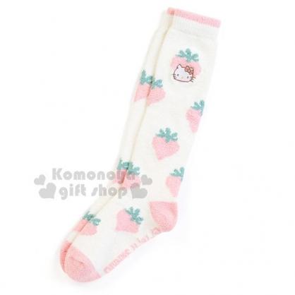 〔小禮堂〕 Hello Kitty 成人保暖長襪《粉.大殮.草莓.附收納袋》適穿腳長23-25公分