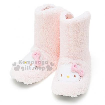 〔小禮堂〕Hello Kitty 造型絨毛室內鞋《粉.大臉.立體蝴蝶結》