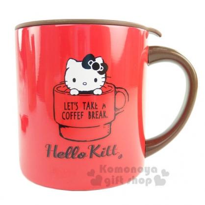 〔小禮堂〕Hello Kitty 不鏽鋼保溫杯《紅棕.喝咖啡.盒裝》360ml