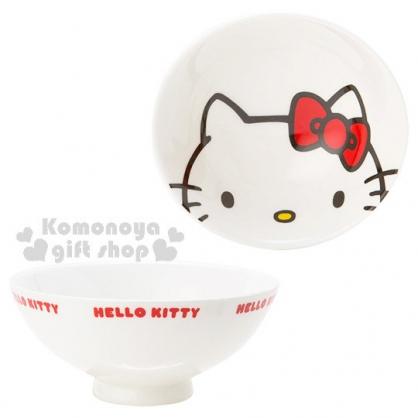 〔小禮堂〕Hello Kitty 陶瓷碗《大臉.英文字樣》