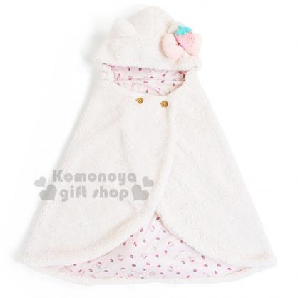 〔小禮堂〕Hello Kitty 造型連帽披肩毯《白.耳朵.草莓.內裡滿版》