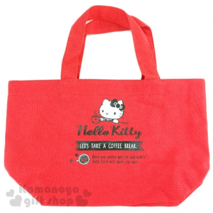 〔小禮堂〕Hello Kitty 帆布手提袋《紅.喝咖啡》也可當便當袋