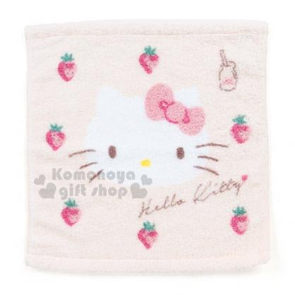 〔小禮堂〕Hello Kitty 方型毛巾《粉.草莓.大臉.牛奶瓶》34x36cm》純棉100%
