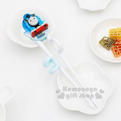 〔小禮堂〕湯瑪士小火車 兒童學習筷《藍.立體造型.右手專用》軟式套環設計