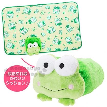〔小禮堂〕大眼蛙 造型靠墊毛毯《綠.趴姿.可捲起收納》2017溫暖冬季系列