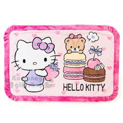 〔小禮堂〕Hello Kitty 圓角毛毯《桃.馬卡龍.抱草莓》2017溫暖冬季系列