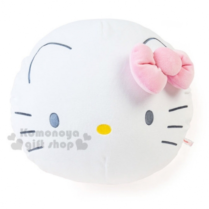 〔小禮堂〕Hello Kitty 絨毛圓型抱枕《粉白.大臉.Mocchi-Mocchi材質》2017溫暖冬季系列